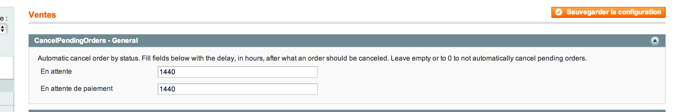 Cancel Pending Orders - Configuration
