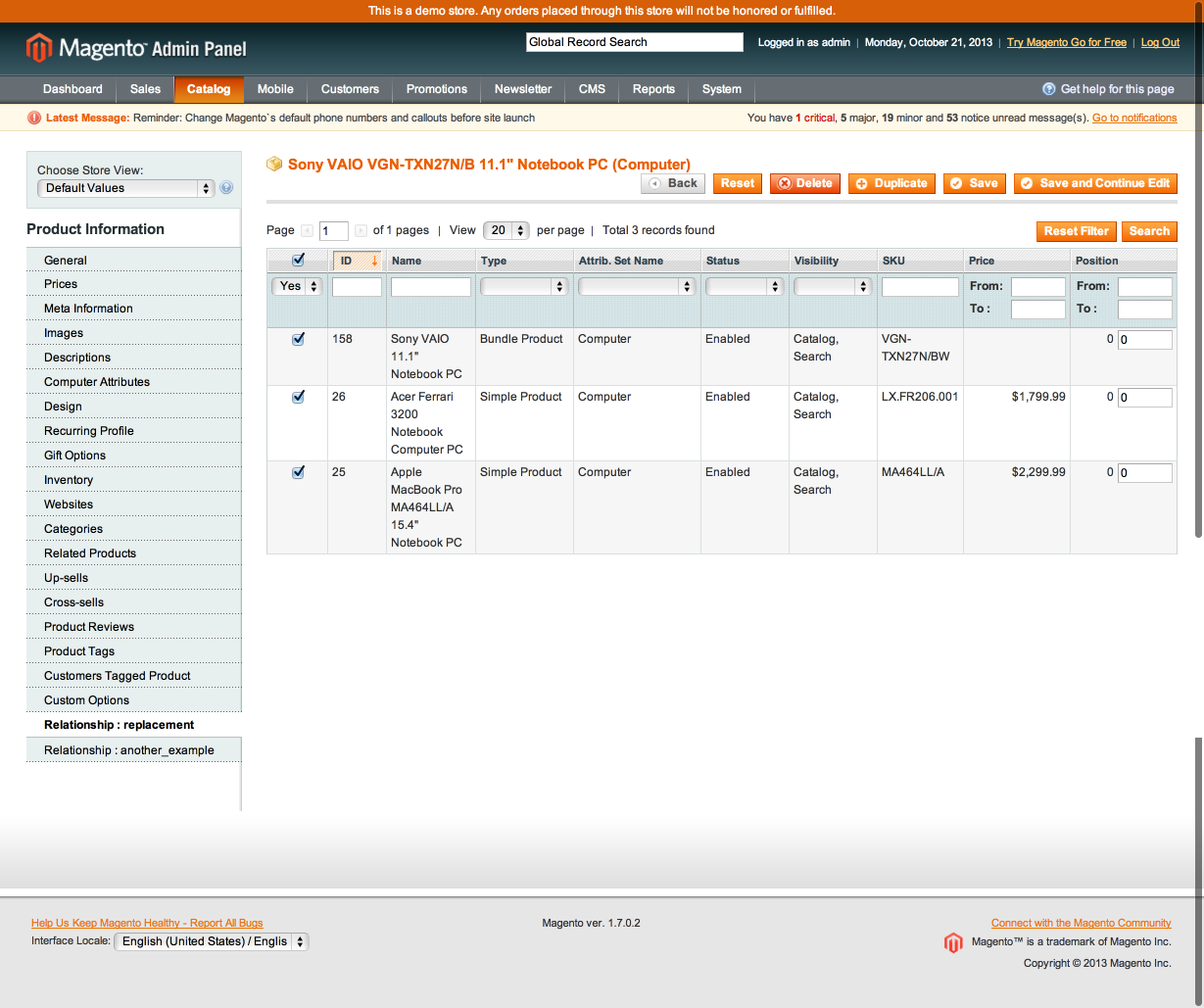 Magento Custom Link Type Product Admin