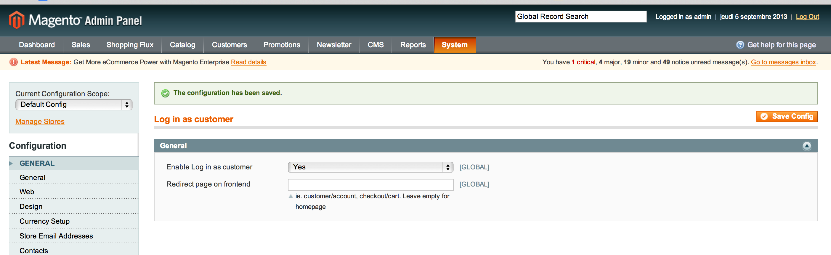 Login as customer magento configuration