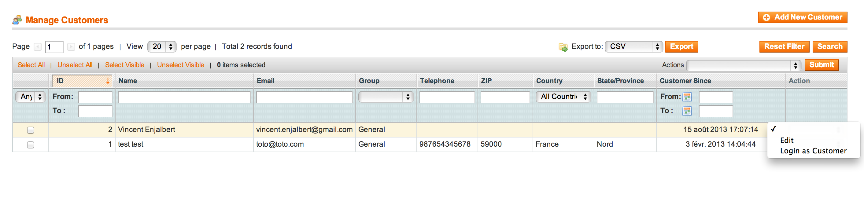 Magento login as customer from customer list page