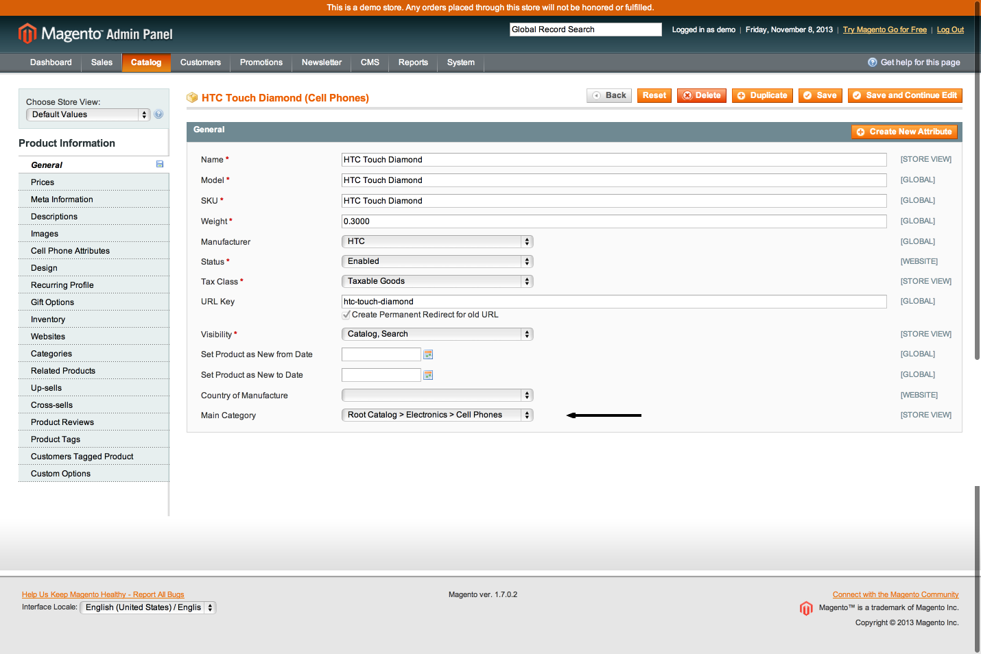 Selection of Main Category in Magento Backoffice